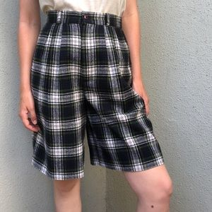 [vintage] plaid ultra high waist wool shorts